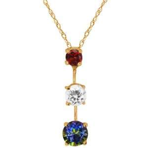 1.77 Ct Round Blue Mystic Topaz and Topaz Gold Plated