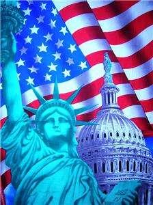 New Statue Liberty America Flag Patriotic Fabric Panel