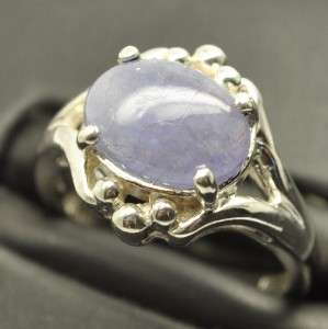 6CT TANZANITE DECO STYLE SILVER LADIES RING