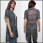 Women Gray Blue Open Long Cardigan Sweater Net Knit Crochet Epaulet