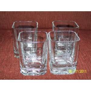 Crown Royal SQUARE Unique Bar Glasses SET OF 4 (Year 2000 Imprinted on
