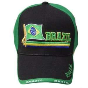 BRAZIL GREEN BLACK NEW BASEBALL CAP HAT EMBROIDERED ADJ Sports