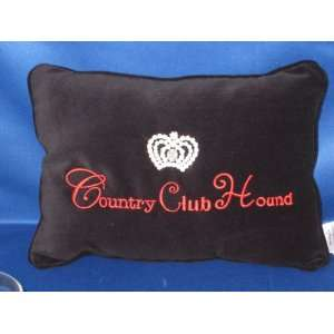 Country Club Hound Pillow with Rhinestone Crown Tiara for
