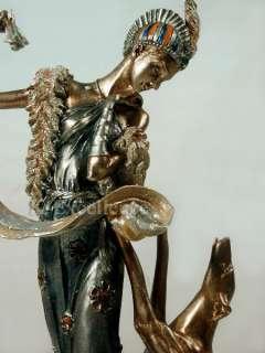 Art Nouveau Deco LADY WITH GREYHOUND Statue Sculpture