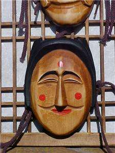 ASIAN KOREAN WOOD CARVED MASKS WOOD PICTURE FRAME WALL ART PAINTED