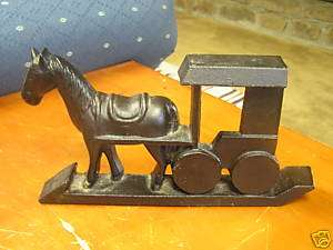 Great Cast Iron HORSE AND BUGGY DOORSTOP by Yield House