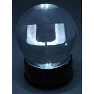 com Miami Hurricanes U Laser Etched Crystal Ball Sports & Outdoors