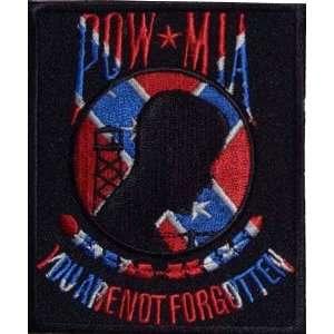 POW MIA Patch   Confederate Flag Theme, 3x3.5 inch, small