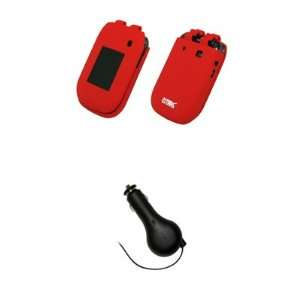 EMPIRE Red Silicone Skin Case Cover + Retractable Car Charger (CLA