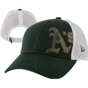 Oakland Athletics Womens Hat New Era Jersey Shimmer Trucker Mesh Hat