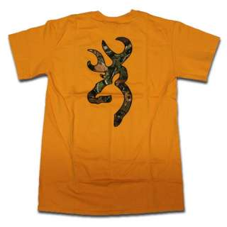 Gold Browning Camouflage Buckmark T Shirt   Logo Color Camo