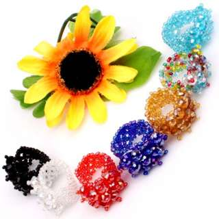 Colors Faceted Crystal Beads Stretch Ring Adjustable 16 Options
