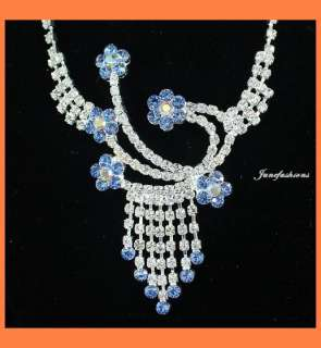 WEDDING BLUE CLEAR RHINESTONE NECKLACE EARRING SET Y108