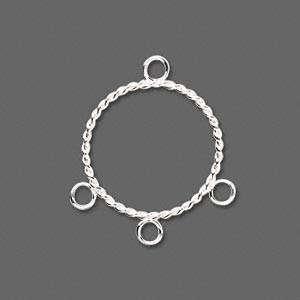 10 Silver Round Hoop Twist 20mm With Loops Bead Earring Drop Findings