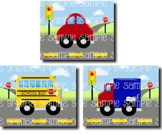 Transportation Cars Bus Boy Bedroom Kids Art Door Sign