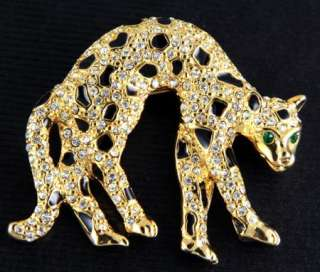 NEW LEOPARD COUGAR JAGUAR SWAROVSKI CRYSTALS GOLD PIN BROOCH