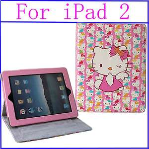 Hello Kitty leather case cover with stand for apple iPad 2 pink