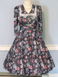 50s SILKY GREEN FLORAL FULL SKIRT LUCY DRESS ROCKABILLY SWING PINUP XL