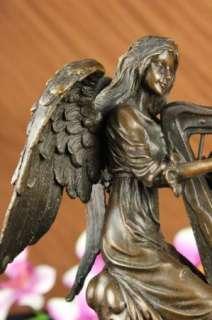 ANGEL FEMALE BRONZE STATUE SIGNED HIP MOREAU SCULPTURE VINTAGE HARP