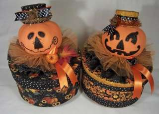 Primitive Folk Art Halloween Fall Pumpkin Jack O Lantern Paper Mache