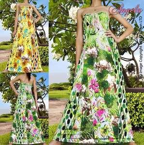 New Floral Green/Yellow Summer Long Sexy Women Maxi Dress Size M   XXL