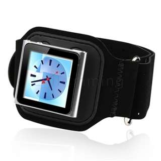 Armband Case Pouch Skin Cover Black For Apple iPod Nano 6 6G 6TH Gen