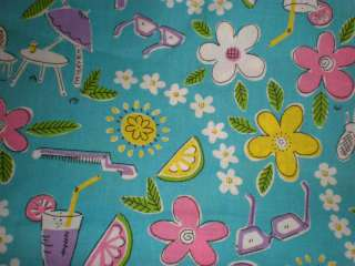 Girls Just Wanna Have Summer Fun Cotton Fabric 45x47 and 45x47