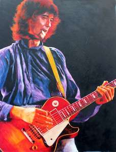 ORIGINAL art oil painting Masonite Jimmy Page Led Zeppelin