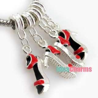 plated Enamel High heel shoe Dangle Charm Bead Fit Bracelet/Pendant