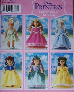 DISNEY PRINCESS pattern 18 doll BELLE Snow White Cinderella Ariel