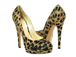 Casadei Leopard Two Tone Black Gold Full Crystal Shoes   NIB