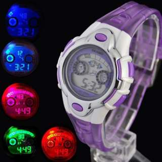 Color light LED Digital Sport Watch Lady/Girl Crystal Purple Women