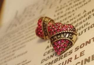 Fashion Lady Girl Letter Love Heart Shape Cute Earring