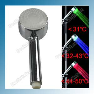 New RGB Three Colors LED Light Wall Mount Showers Head Water Bathroom