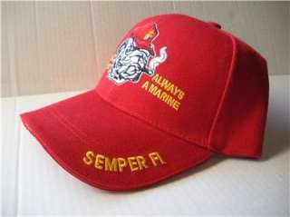 Bull Dog Marine Corps Red Cap Hat