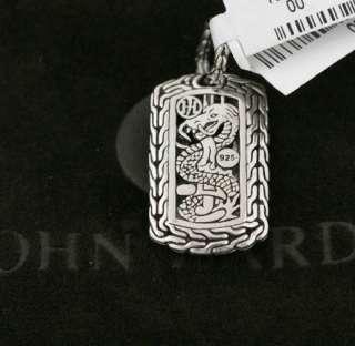 JOHN HARDY Mens Silver Black Chalcedony Dogtag Pendant $495