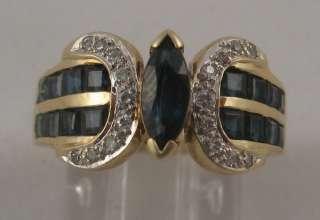 Estate 1.30ct Blue Sapphire Diamond 14k Cocktail Ring