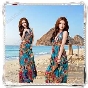 Maxi Ice Silk Dress Beach Cocktail Evening Summer Dress Skirt