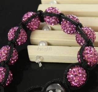 Pink Crystal Disco Ball Beads Handmade Macrame HIPHOP Bracelet
