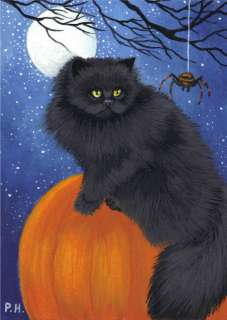 ACEO, PRINT, PERSIAN CAT, PUMPKIN, HALLOWEEN, SPIDER,