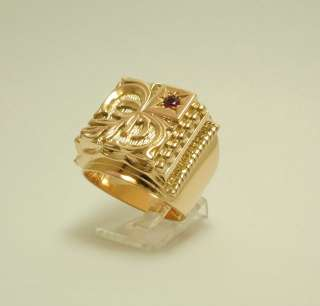 Ring 750 18 kt. Gold Gelbgold Siegelring Rubin Synth.