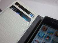 White Crocodile Leather Pouch Book Wallet Case Cover for iPhone 4 4S