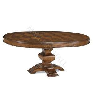 Tobacco Round Oval Dining Table 6 Side Chairs Set Leaf