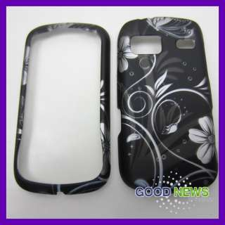 Boost Mobile LG Rumor Reflex LN272 Black Silver Flower Hard Case Phone
