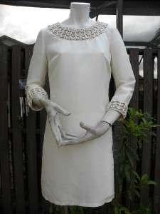 TORY BURCH IVORY BEADED SHANTUNG VENUS TUNIC DRESS SZ 6 $525