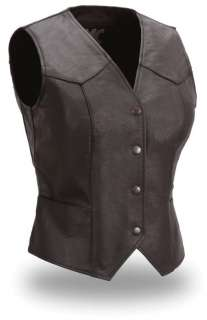 HOUSE OF HARLEY WOMENS FITTED LEATHER VEST FML500CR NEW