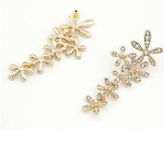 New Comming Crystal Gold plated Flower Stud Earring Cute Fashion Women
