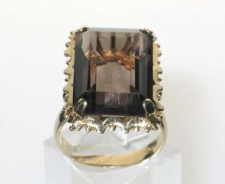BIG VINTAGE 16 CARATS SMOKY TOPAZ 14K GOLD RING sz 7.5