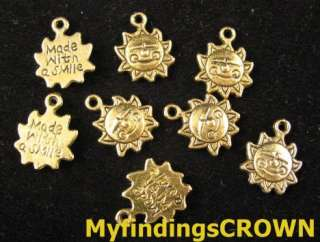 80 pcs Antiqued gold Face sunflower charms FC829