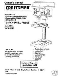 Craftsman 12  DRILL PRESS Manual Model 137.219120